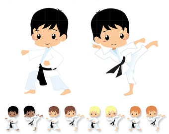 Chibi Karate Kid Clipart, Sport classes karate & taekwondo set. PNG graphic Great for planner Stickers, paperclips. Commercial Use Ok.