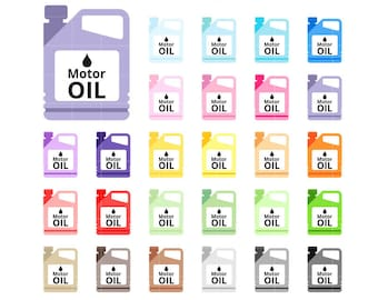 Motor Oil Functional Rainbow Collection Clipart, PNG graphics set for planner stickers, personal or commercial use ok.