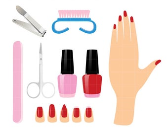 Collection Manicure Clipart and Paint nails polish Graphics Set for papercrafts, web graphics, scrapbook. Personal or Commercial Use.