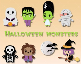 Halloween Monster Doodle Clipart. Cute Ghost, Witch, Mummie, Frankestein  graphics, great as party graphics, scrapbook, planner stickers.