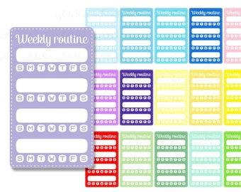 Sidebar clipart weekly routine - good habits digital graphics great for planner stickers or digital planning- personal and commercial use