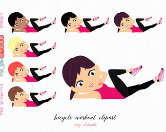 digital stickers for personal and commercial use Woman clipart workout plank 30 days challenge png graphics