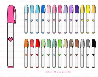 Rainbow marker clipart - cute pen digital graphics great for scraps - papercrafts - cards - personal and commercial use