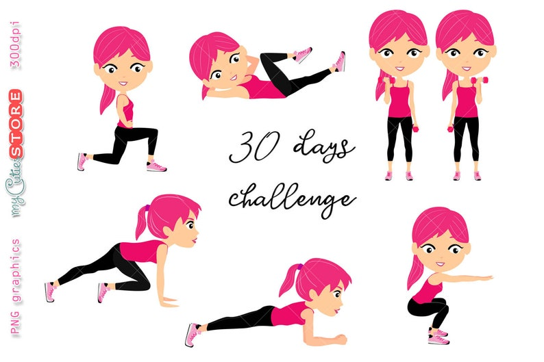 a3bbb01c82 Custom hair color pink fitness clipart set