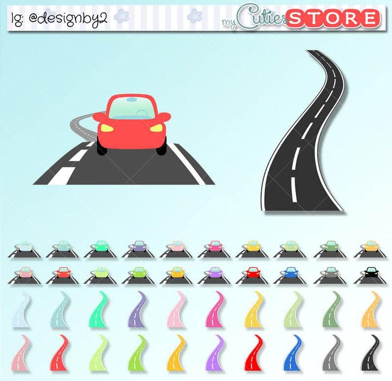 Reisen Und Road Trip Clipart Funktionelle Auto Und Strasse Etsy