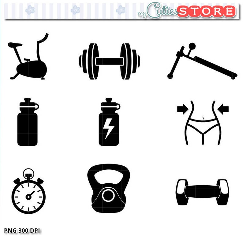 52078f7c82 Workout and Fitness Icon Set Clipart. Silhouette Gym Clip art