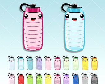 Hydrate bottles Kawaii Clipart - Cute Hydratation Digital graphics perfects for Planner Stickers - Inserts - Dividers - Paperclips