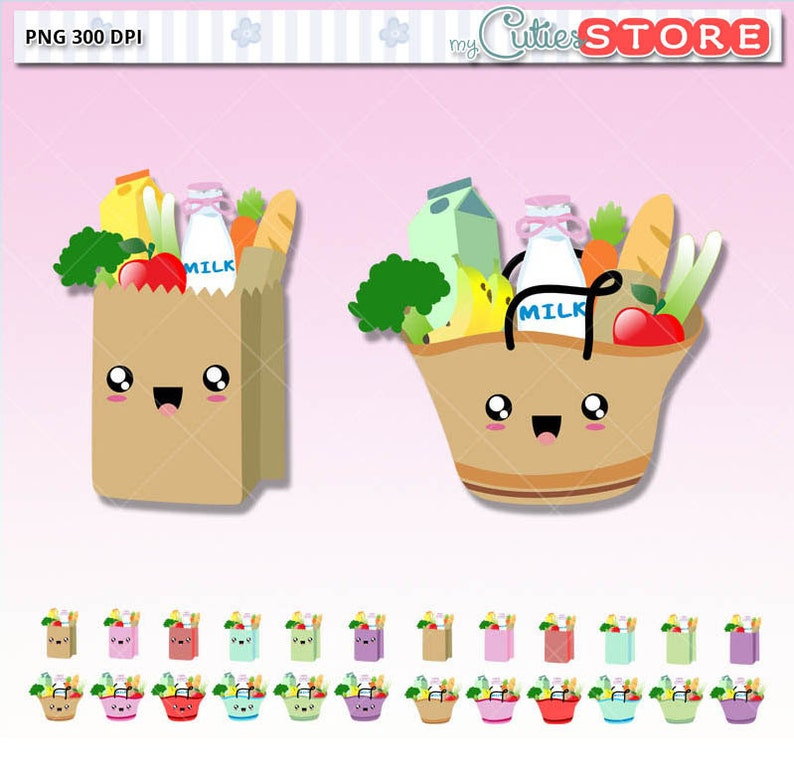 3ebb7a207 Groceries kawaii Clipart Cute Digital graphics perfects for