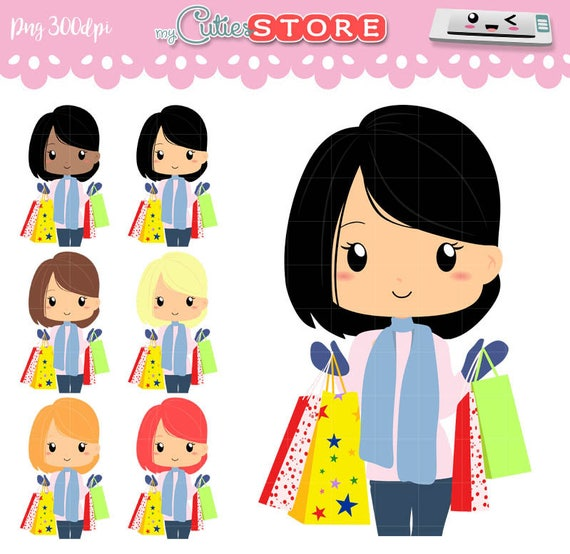 chibi girl shopping in black friday with winter clothes etsy