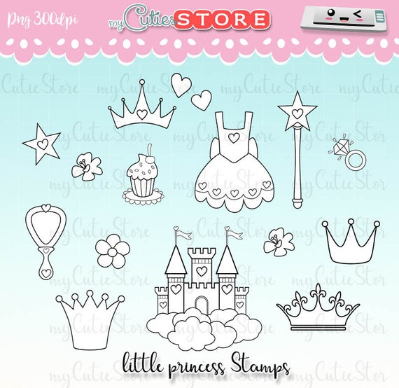Little Princess Doodle Stamps, Outline crowns, tiaras, mirror, ring Digital  Stamps  Personal or Commercial use