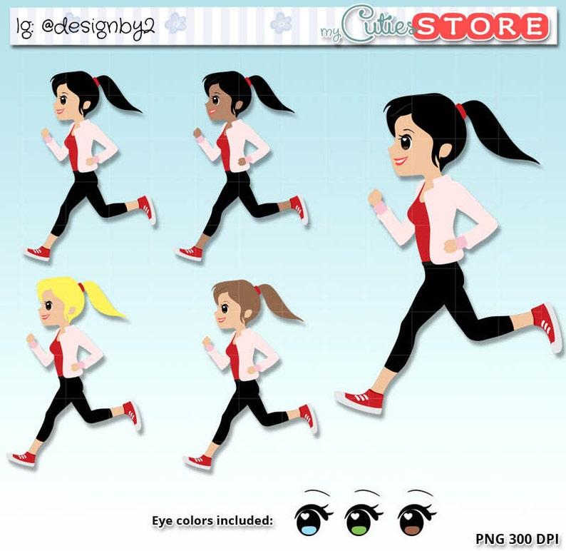 a06e1bd4c Chic Running Clipart. workout running kawaii characters Set
