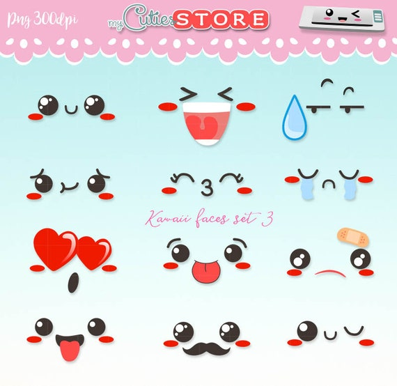 Kawaii faces emoticons clipart  Doodle cartoon faces for planner stickers  or digital planning  commercial use ok