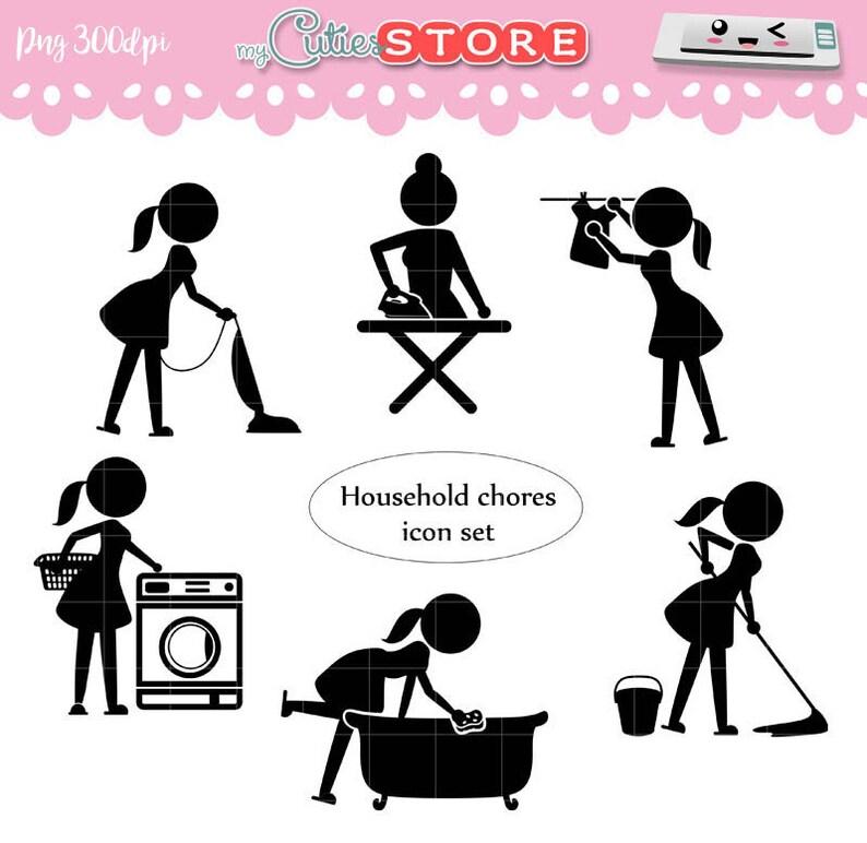 Hausarbeit Symbol Clipart Set Frau Bügeln Wäsche Etsy