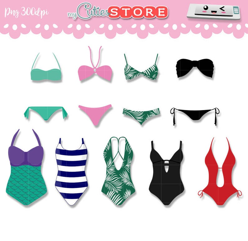 Collection Swimsuit Clipart Summer Graphics Png Clip Art Set Etsy