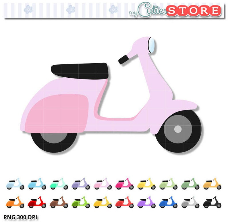 Doodle Vespa Clipart, Cute digital clip art set for Planner Stickers, paper  crafts, embroidery, Personal and Commercial Use