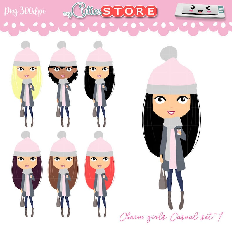 be6687a68 Kawaii girls Clipart. Casual outfit set 1 Winter coffee. PNG