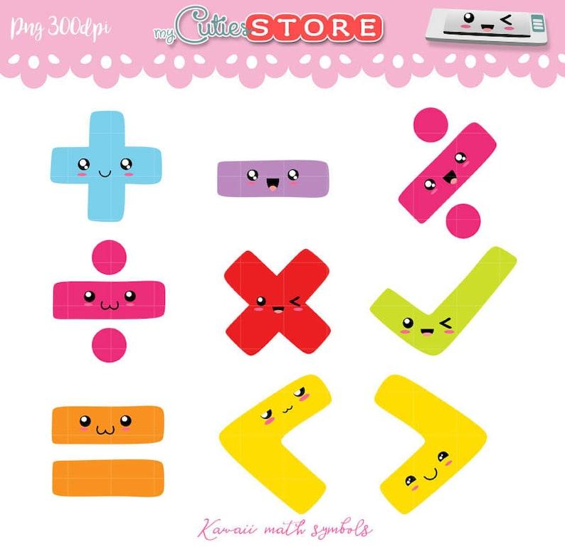 Kawaii math symbols clipart set cute school digital ...