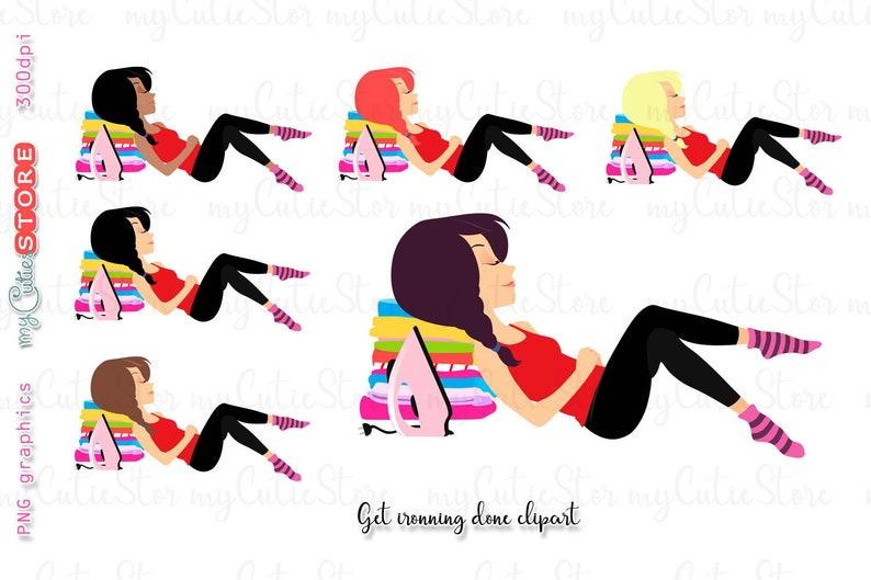Mädchen Bekommen Ironning Getan Clipart Set Hausarbeit Etsy