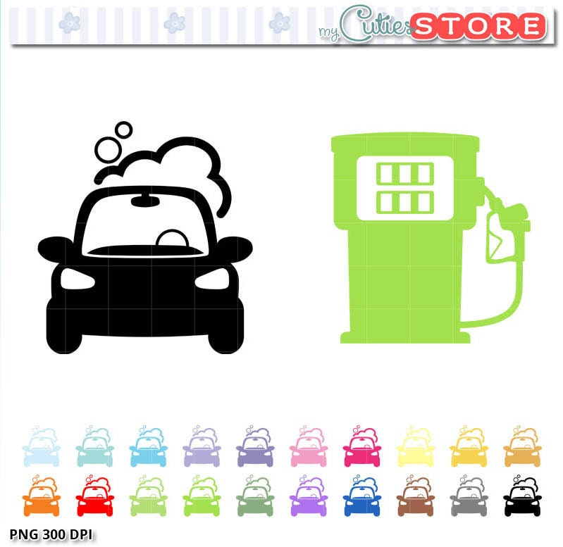 Car Wash Icons Clipart Gas Station Icon Silhouettes Set