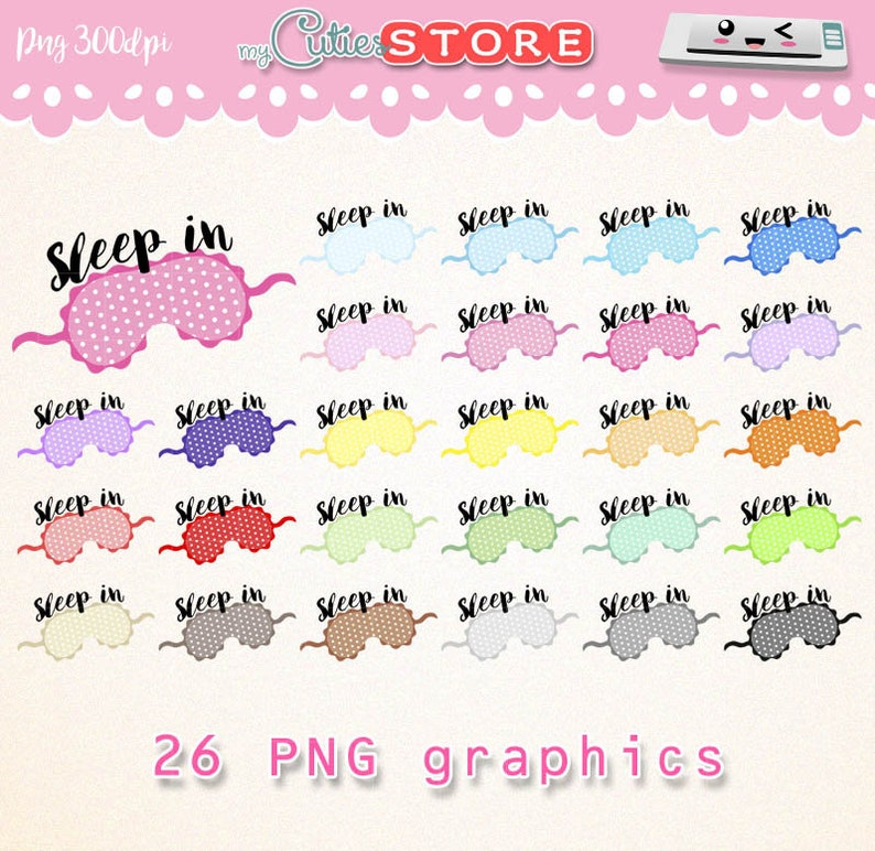 Sleeping mask rainbow collection, clipart sleep time png graphics set for  planner stickers or digital planning  commercial use ok