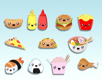 Fast Food Kawaii Clipart - Dinner tracker clip art set for Planner Stickers,  taco day, hamburguer, pizza night. Commercial use ok.