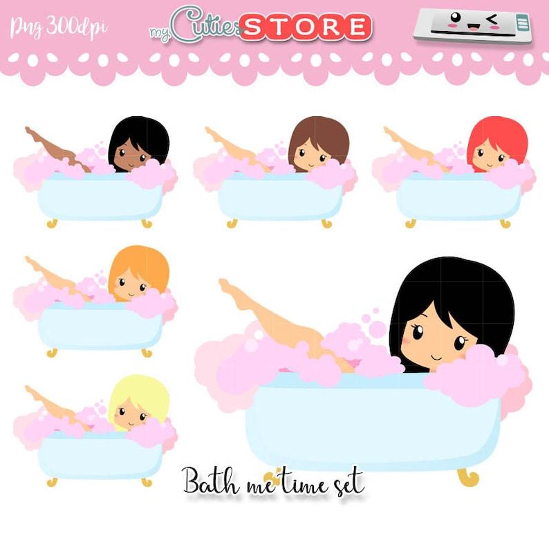 46186c39e Chibi Bath me Time   Lazy Day Clipart Kawaii Characters Set