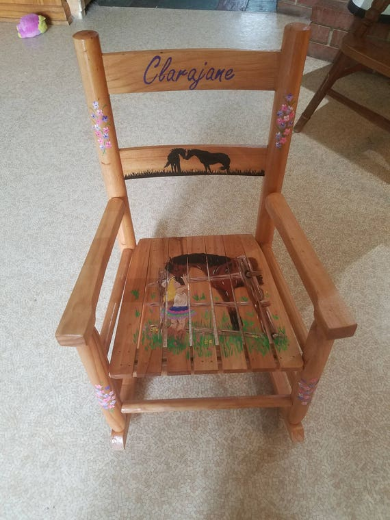 Groovy Child Solid Wood Rocking Chair Hand Painted Custom Design Personalized Creativecarmelina Interior Chair Design Creativecarmelinacom