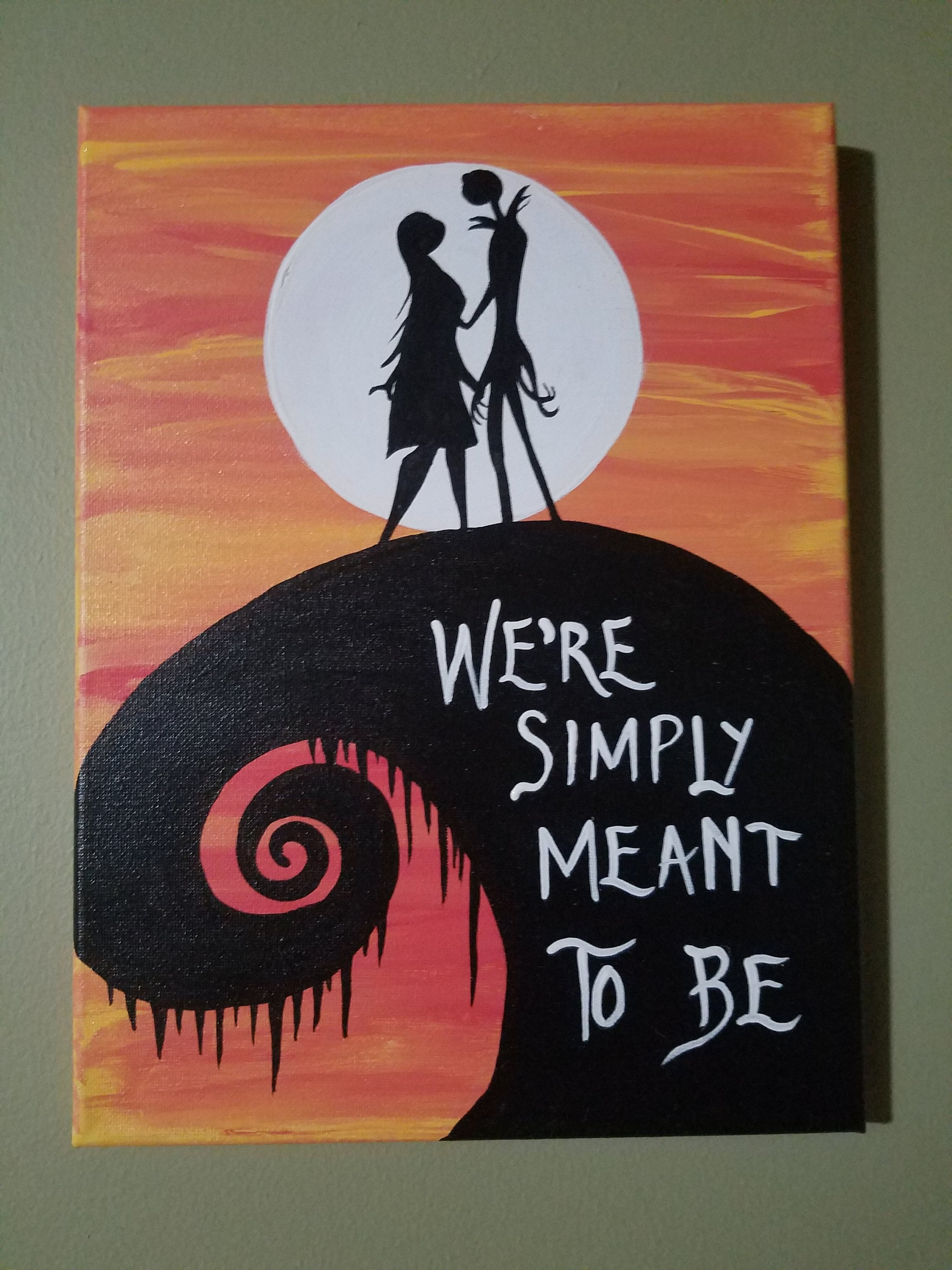 canvas Nightmare Before Christmas Simply Meant To Be   Etsy
