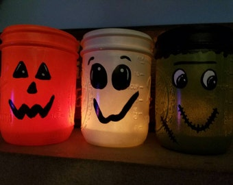 Halloween candle holders, pumpkin, monster, ghost
