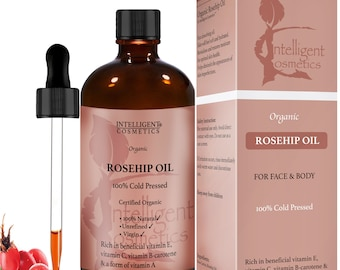 Rosehip Oil 100% Cold Pressed Pure Certified Organic Oil 100ml Best Known Facial Oil with Vitamin E, Vitamin C, B-carotene and More