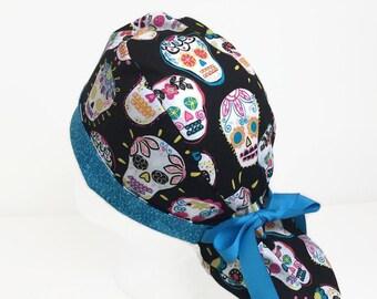 6a40ef71148 Scrub Cap Sugar Skulls Ponytail Scrub Hat