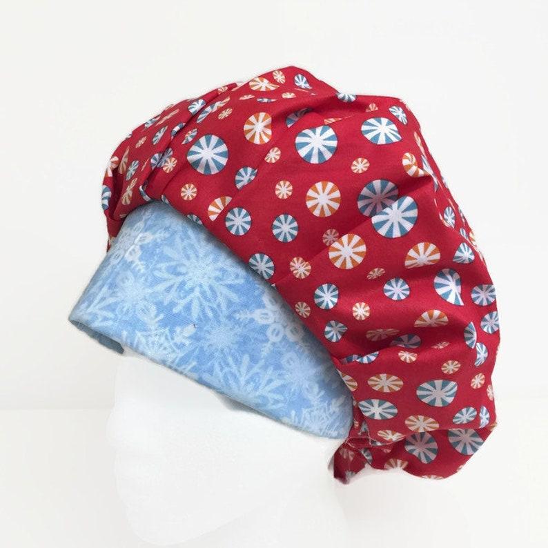 95ffb300051fc Peppermint Flakes Christmas Bouffant Scrub Hat Scrub Cap OR