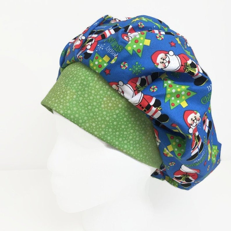 b048c8165bb1b Scrub Cap Hey Santa Christmas Bouffant Scrub Hat Scrub Cap