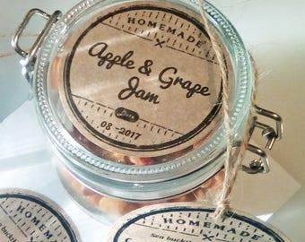 "DIY printable canning labels editable AVERY Template 2"" 2.5"" kraft round mason jar labels jam labels jar labels round labels lid labels"