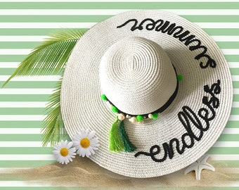 Endless Summer Hat   Pom Pom Beach Hat   Wide Brim Sun Hat   Personalized Gift   Summer Never Ends Hat   Summer Gift   Custom Sun Hat