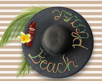 Beach Please Hat   Customized Gift   Personalized Hat   Wide Brim Sun Hat   Sequin Beach Hat   Black Beach Hat with Sequins