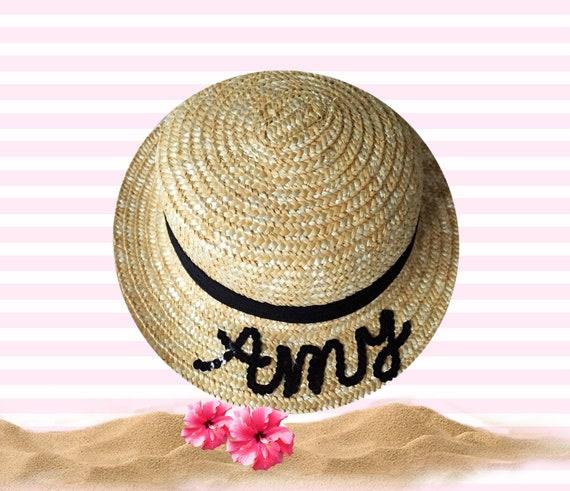 Custom Straw Boater Hat Gift For Girls  1ff8bea9f71