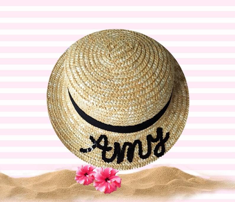 0c8387d1 Custom Straw Boater Hat Gift For Girls | Etsy