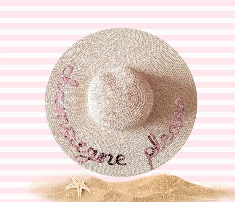 e6546699 Champagne Please Hat Personalized Sun Hat Bachelorette | Etsy