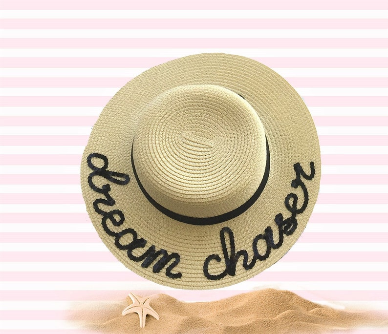 ecee4f82 Dream Chaser Beige Straw Boater Hat With Sequins | Etsy