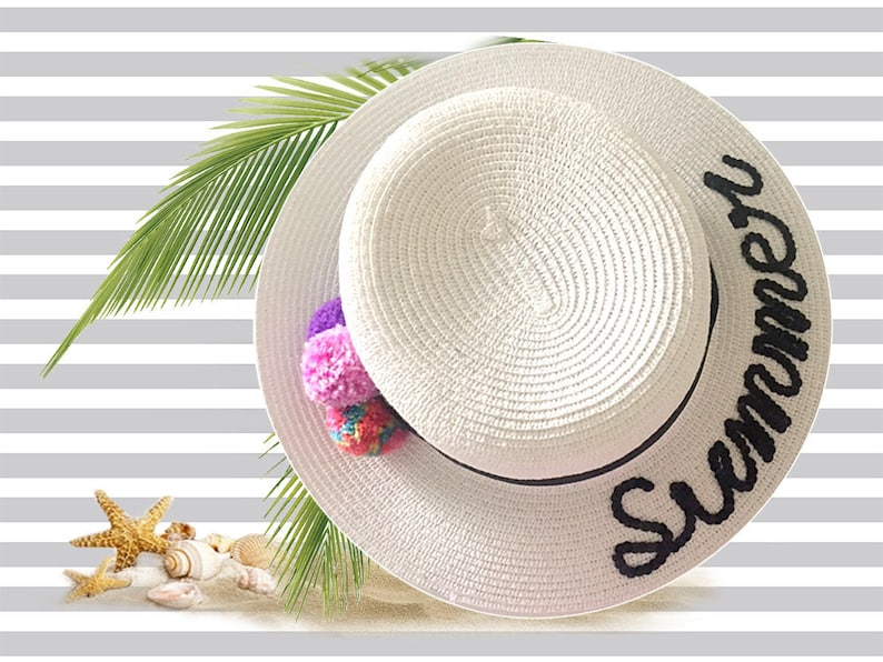78313cdd White Summer Boater Hat Personalised Hat With Sequins Pom | Etsy