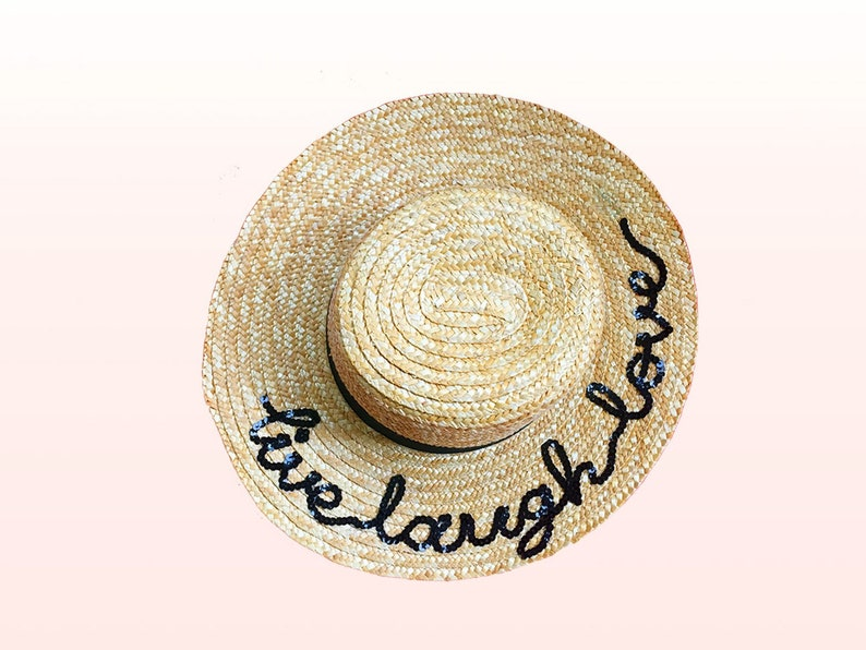 024bfd7d Live Laugh Love Custom Wide Brim Natural Straw Boater Hat | Etsy