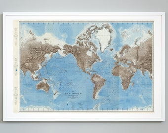 Map Of World And Oceans.Ocean Floor Map Etsy