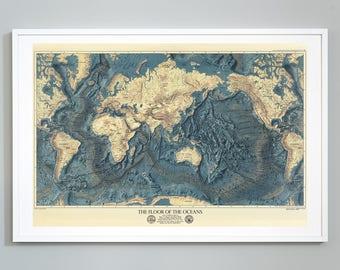 Topographic Map Of Ocean Floor.Ocean Floor Map Etsy