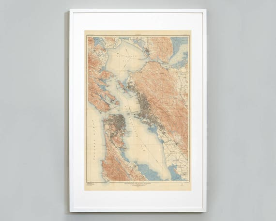 California Map Topography.San Francisco Bay Topography Map Print Bay Area California Map Berkeley Oakland Us Geological Survey Museum Quality Map Art Print