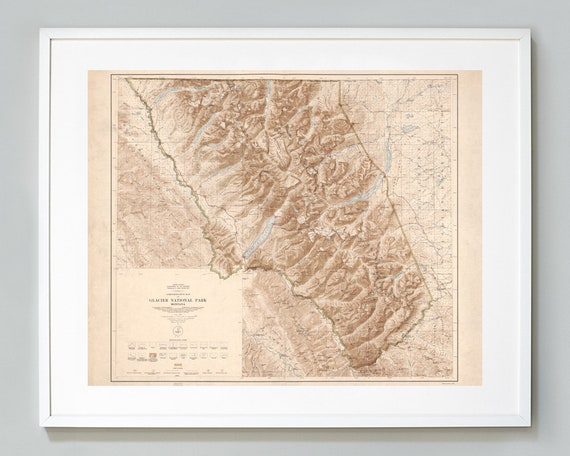 photo regarding Printable Map of Glacier National Park referred to as Glacier Countrywide Park Map, Montana Geological Study, Museum Excellent, Giclee Artwork Print