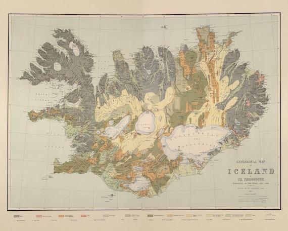 Karte Island Drucken.Island Karte Drucken Geologische Karte Von Island Gletscher Vulkane Und Fossilien Kunstdruck Museum Karte Druckqualitat