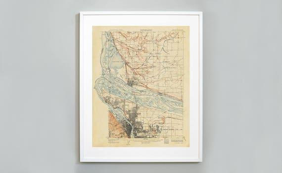Portland Oregon Topography Map Print, US Geological Survey, Oregon  Washington Map, 1905, Museum Quality Giclee Art Print