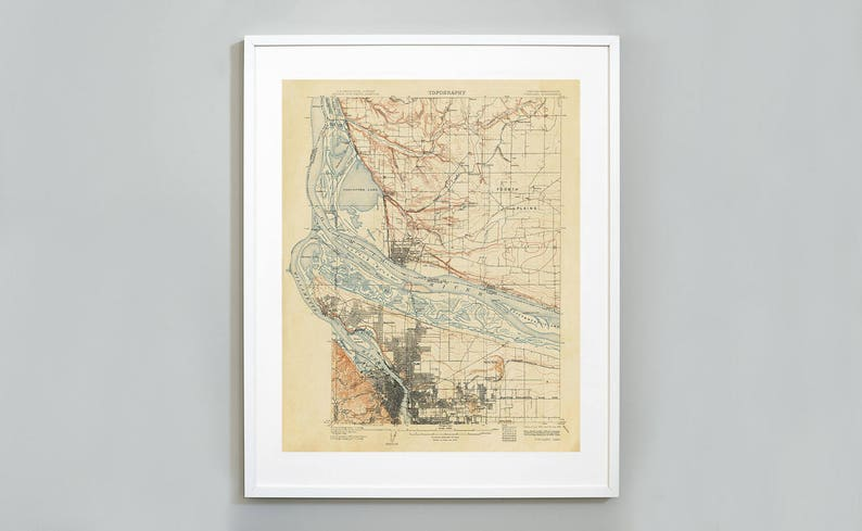 Topography Map Of Us.Portland Oregon Topography Map Print Us Geological Survey Etsy