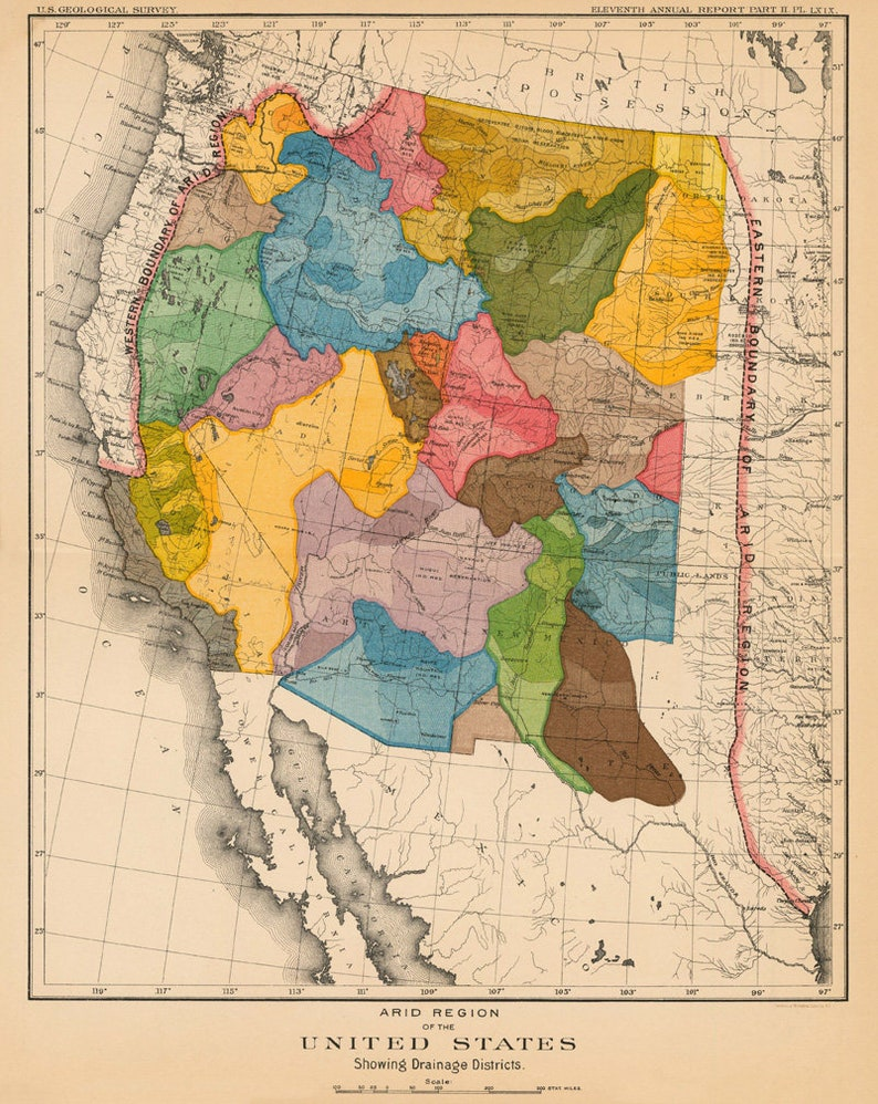 Watershed Map Of The Arid Regions Of Western Us Print John Etsy - Us-water-quality-map